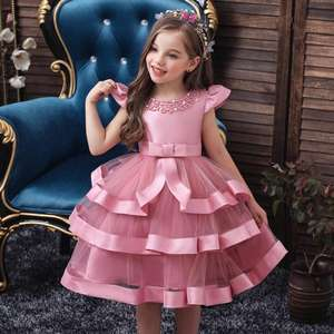 Hot selling multi-layered baby girl birthday dresses cotton girl princess party dresses for 0-8 Y girls tutu dress for party