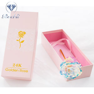 valentines day gifts Rainbow Galaxy Rose 24k Gold Dipped Roses Flower with LED light for Unique Birthday Gifts pink box