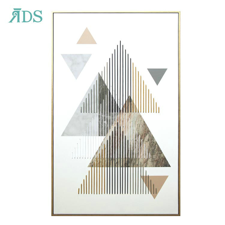 2021 Hot Sale North Europe Triangle One Abstract 3D Big Wall Canvas Art Accessory Hanging Decoration