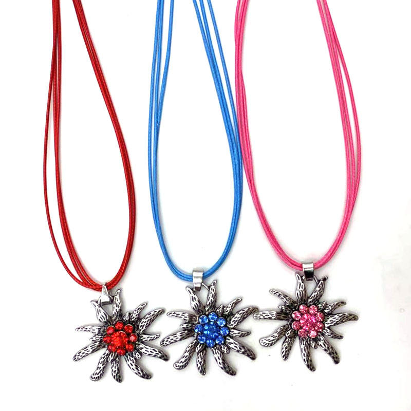 Free Shipping Femtindo 40mm Bavarian Edelweiss Pendant Necklaces Custom Crystal Oktoberfest Flower Necklace For Women