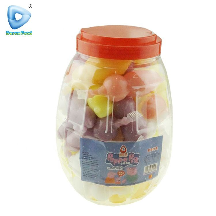 Lovely cartoon pig shape assorted fruit flavor jelly