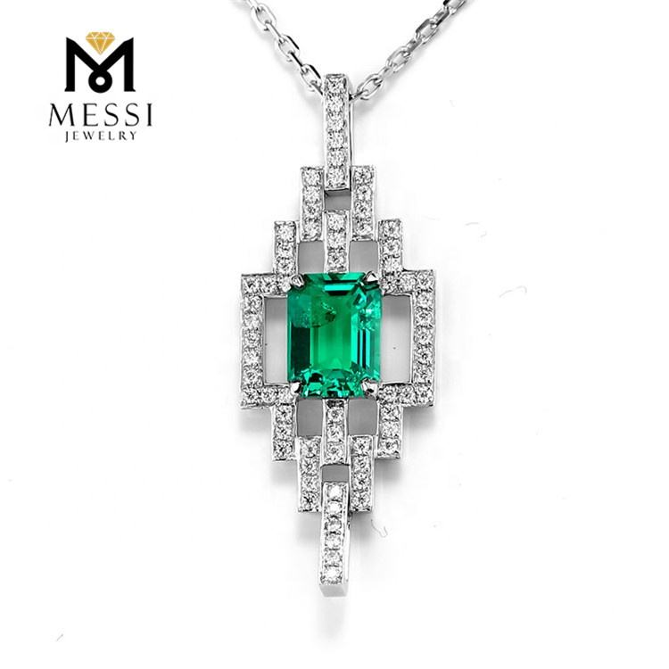 Emerald Cut Necklace for Woman Messi Jewelry Fancy Pendant 14k Gold Wholesale Gemstone Queen for