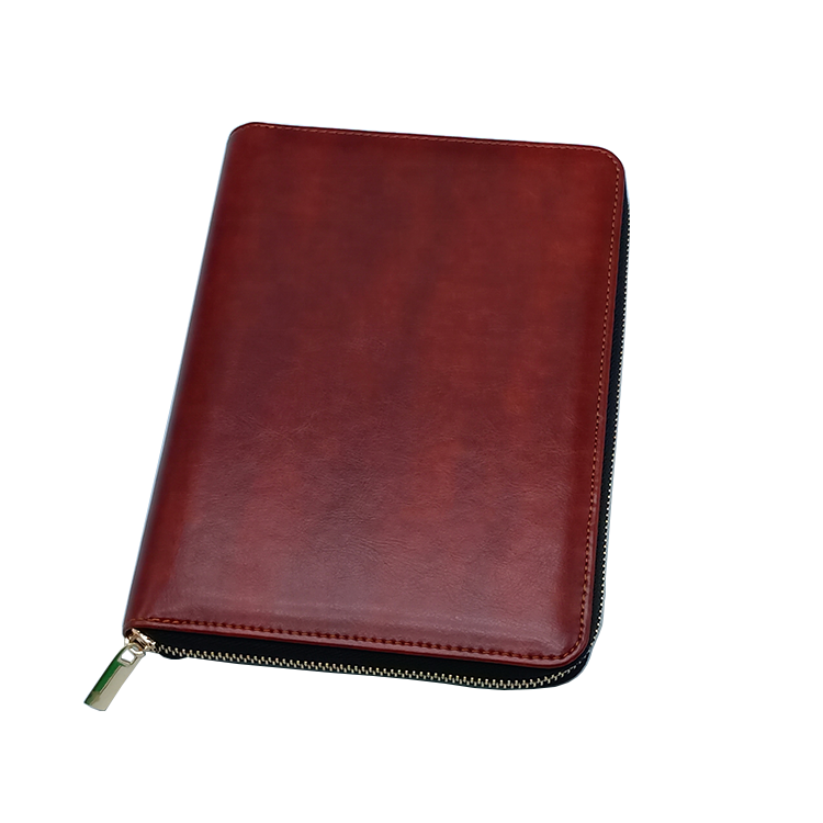 New design A5 PU leather logo custom sketchbook with back pocket and zippered portfolio