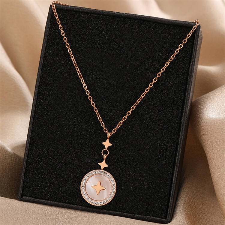 Ins titanium steel necklace female design sense niche student pendant clavicle chain light luxury hundred matching accessories