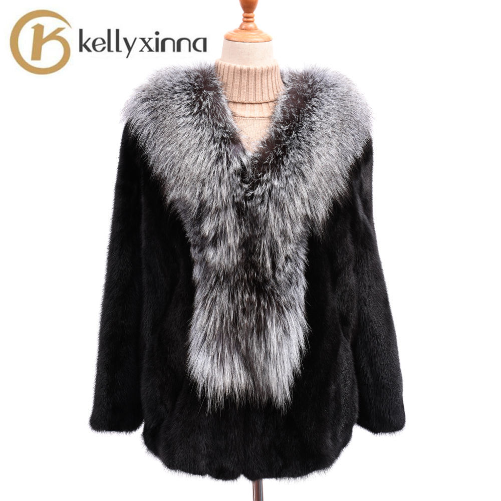 High quality nature fur winter coat women luxury real fox fur collar jacket for sale real mink fur coats