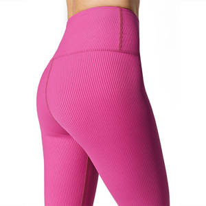 Private Label 25 Spandex High Waist Fit Tights Body Shaping Black Thick Female Ribbed Fitness Wear Ladies Gym Leggings