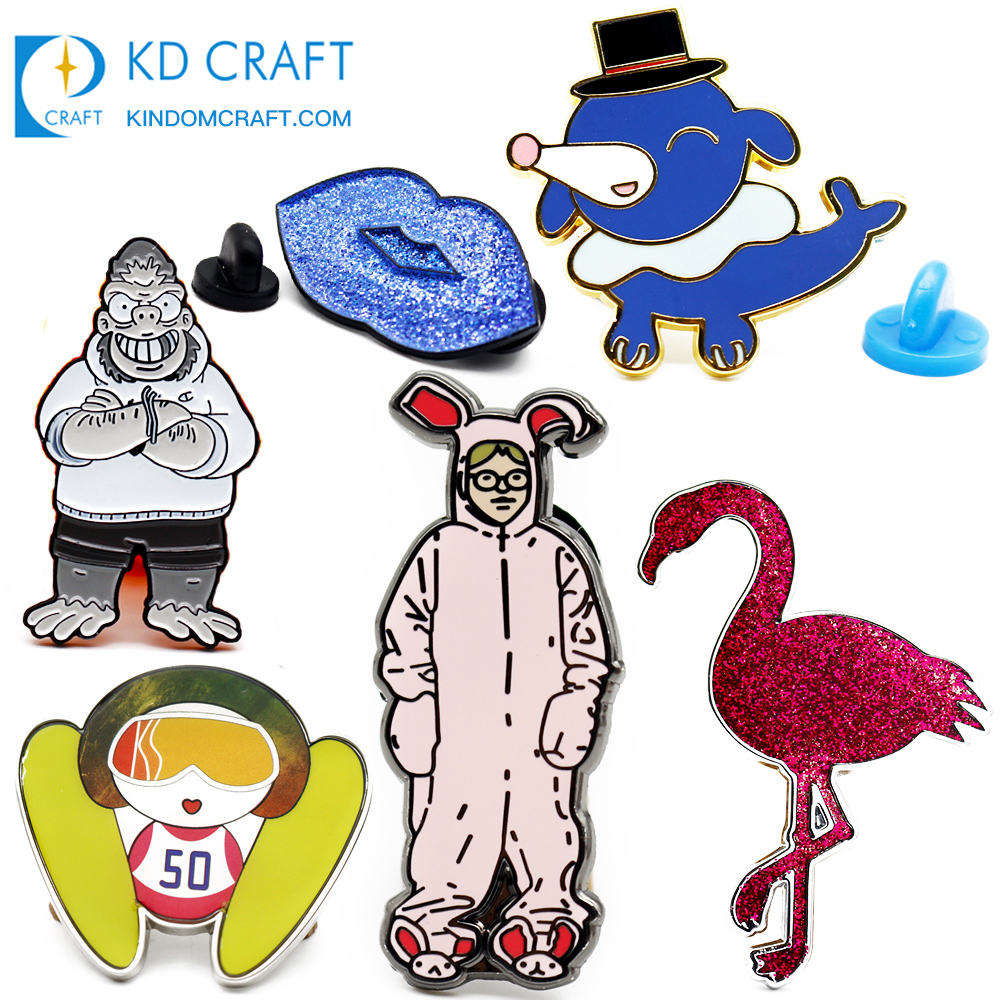 Custom made metal glitter epoxy cute cartoon anime animal party supply lapel enamel pin