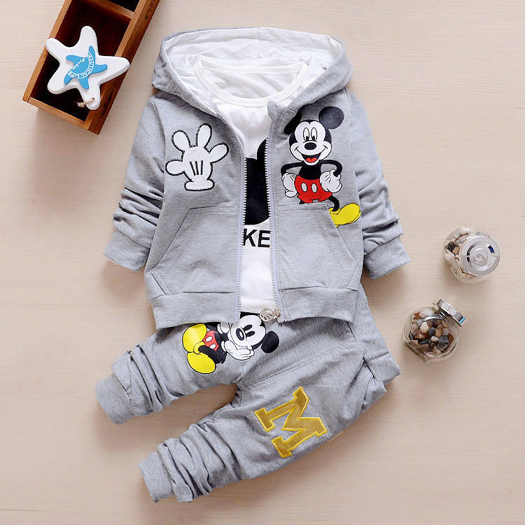 3 Piece Clothing Set for Boys Girls Spring Autumn Mickey Printing Hooded Coat Long Sleeve T shirt Pant Sportswear Kids Clothes