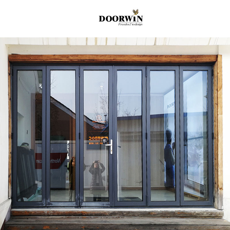 Heat Insulation Soundproof Aluminum patio/balcony double glass exterior accordion folding sliding doors