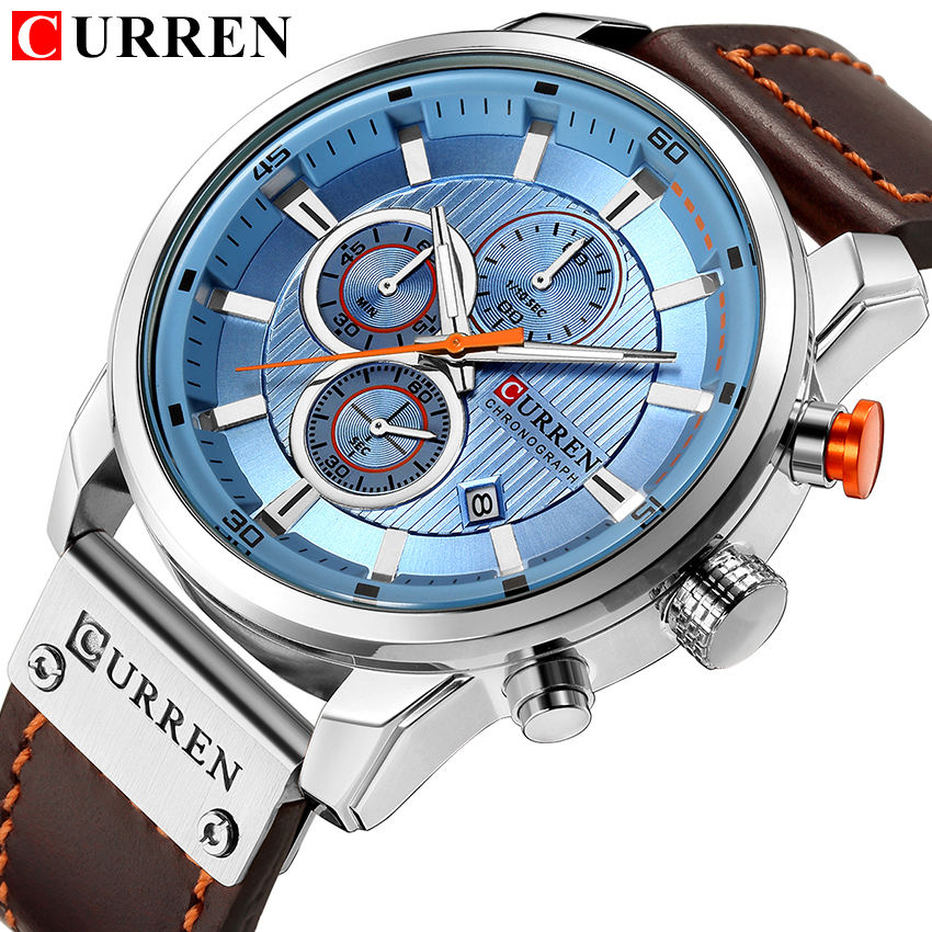 CURREN 8291 antique China boys quartz watch ECO Genuine Leather Strap water resist Chronograph date display expedition watch