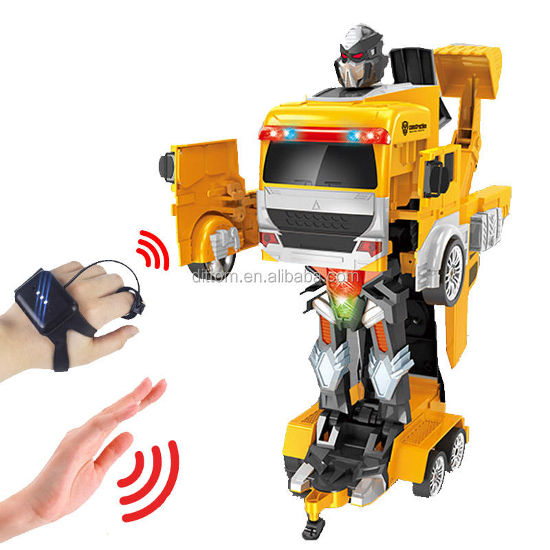 1:12th Gesture Control Deformation Truck Robot Double Mode Watch Control 2.4G Rc Excavator truck transformer toys