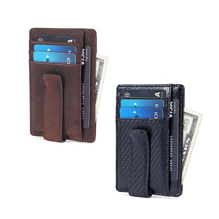 Minimalist Carbon Fiber Genuine Leather RFID Money Clip Slim Mens Credit Card Holder Wallet With Magnetic