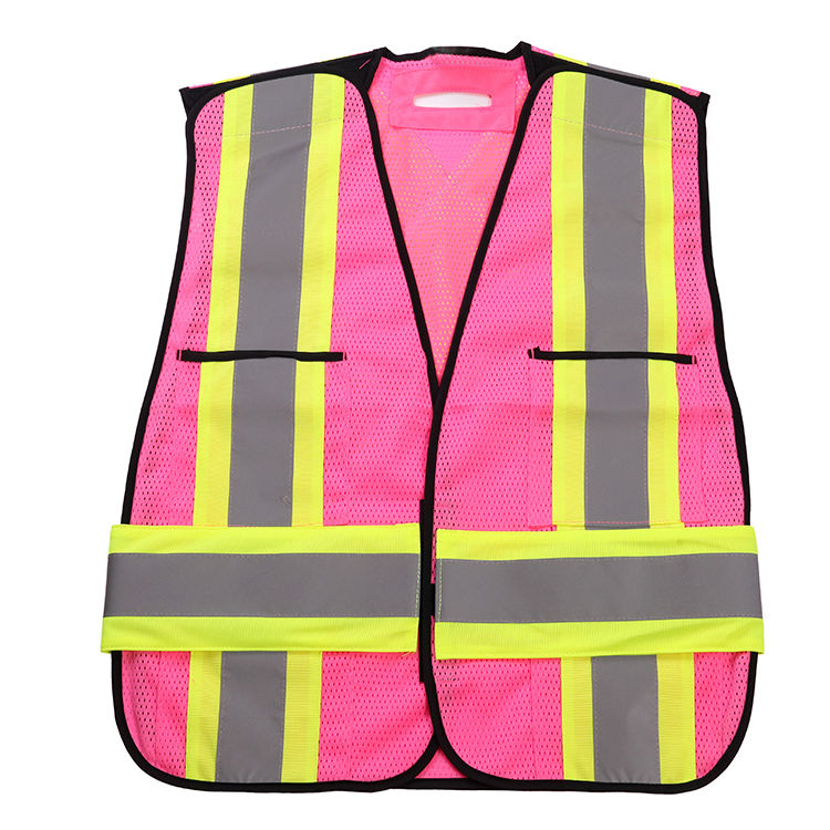 Fluorescent yellow pink el safety vest