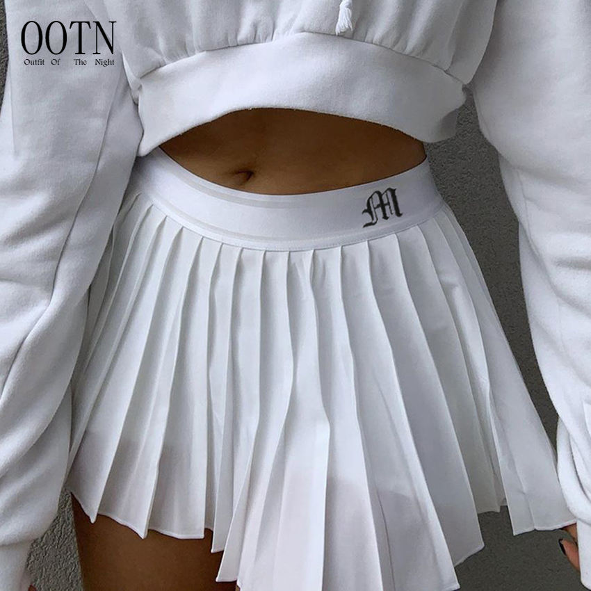 OOTN Sexy Mircro Summer Embroidery Mini Tennis Skirt New Preppy Woman Elastic Waist Mini Skirts White Pleated Skirt Short