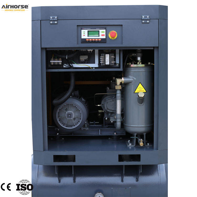 7KW 10HP 160L-500L Air Cooled Screw Type Air Compressor Including Air Tank