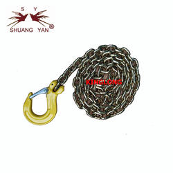 G80 Gold Galvanized Chain Sling with Eye Grab Hooks Clevis G
