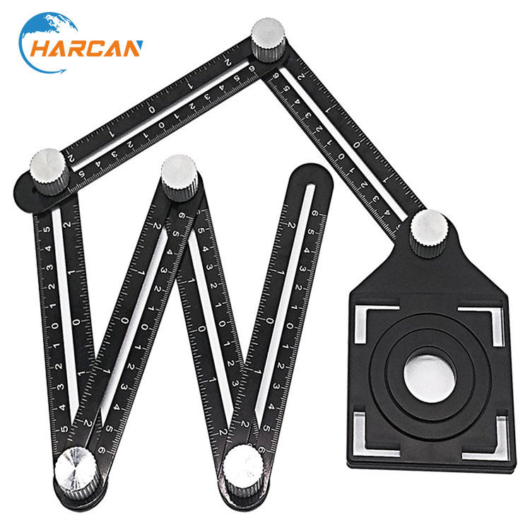 Upgraded Aluminum Alloy Multi Functional Ruler Full Metal Multi Angle Measuring Template Tool