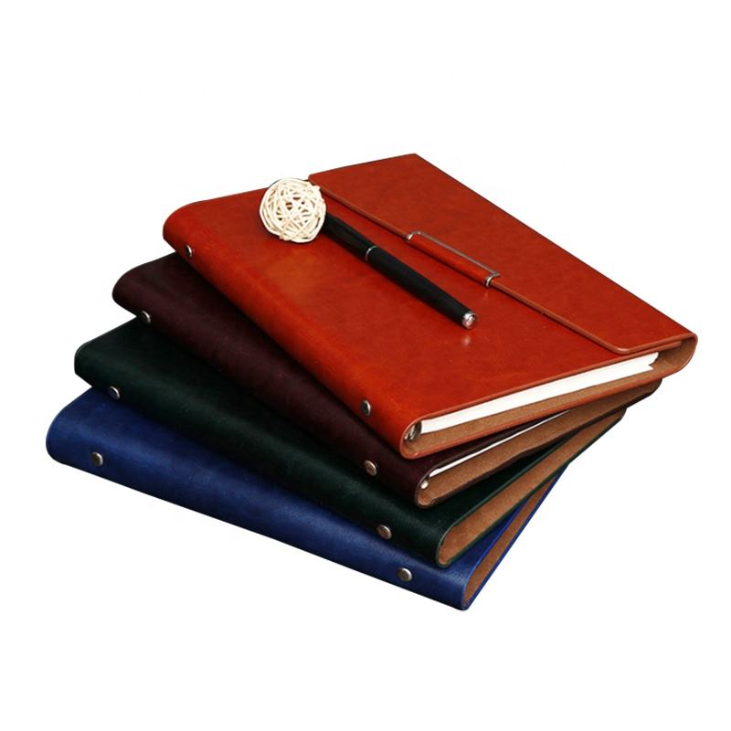 A5 PU cover business style card pocket 6 holes rings loose leaf binder notebook