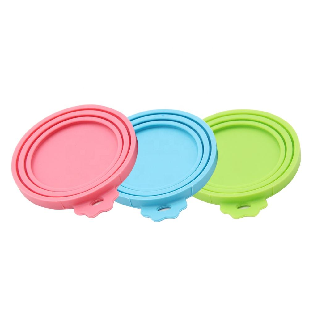 Universal Size One fit 3 Standard Size Silicone Pet Food Can Cover Can Lids for Dog and Cat Food
