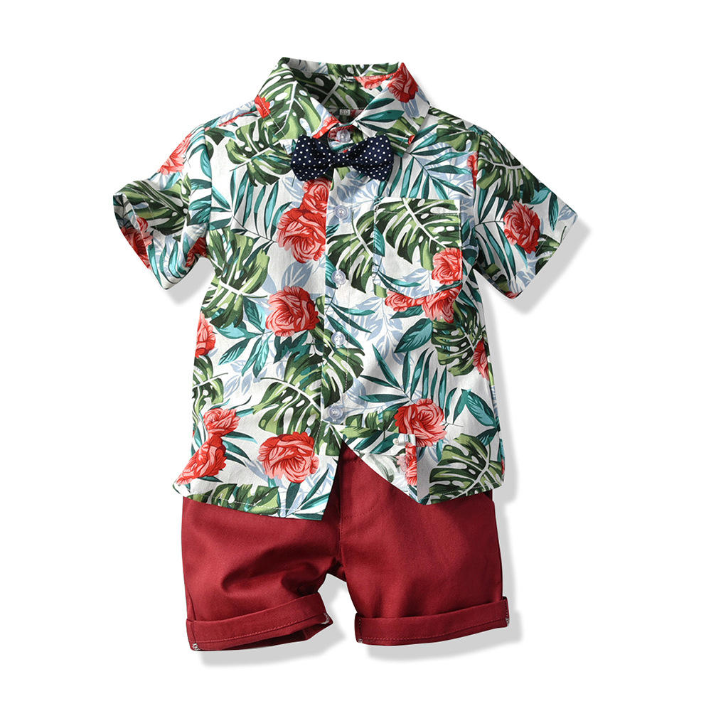 2020 Flower shirts suit 2pcs kid clothes set baby boys shorts set