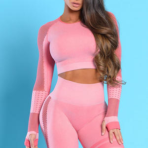 Best Sales Sports Wear Women Mesh Seamless Fitness Crop Top Long Sleeves Gym Apparel Training Shirts