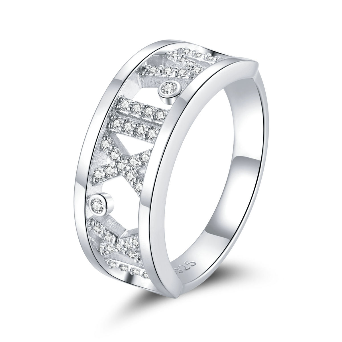 Original design sterling silver S925 platinum plated simple fashion Roman digital ring for man women