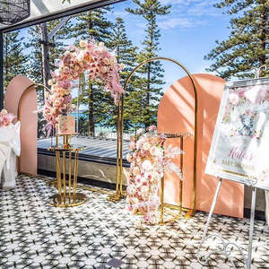 Golden Flower Arch Wedding Birthday Party Decoration Backdrop