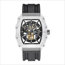 Sapphire crystal case automatic silicone strap tourbillon mechanical watch