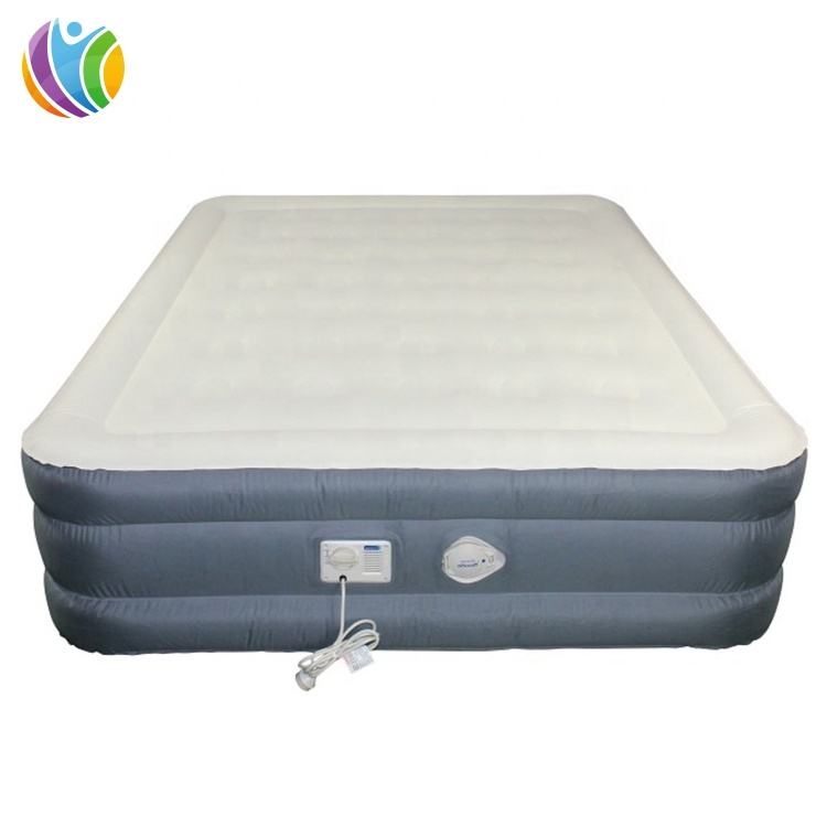 Eco-Friendly inflatable beds air mattress,3 layers inflatable air bed,flocking inflatable airbed with factory price