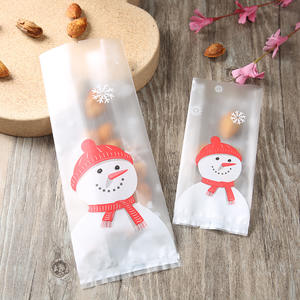 Transparent Plastic Christmas Bag For Snowman Cellophane Xmas Biscuit Cookie Candy Bag