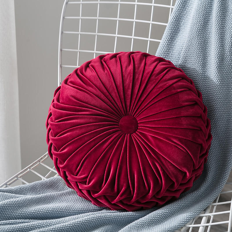 Handmade Round Multi color Red Velvet Floral Ball Throw Pillow Cushion