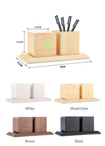 LED Digital Alarm Desktop Kayu Kalender Jam Multifungsi Kayu Led Clock Pen Holder