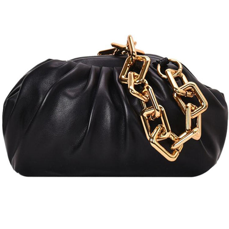 large chain cloud women soft leather clutch bags pleated dumpling shoulder bag