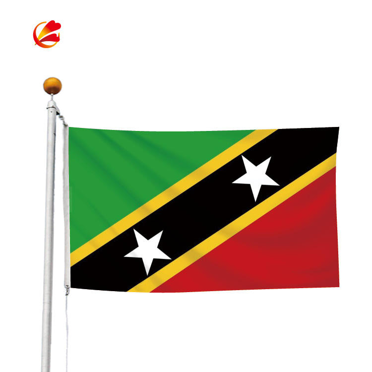 Wholesale 3*5FT Polyester Silk Print Hanging all size Country Custom Flag saint kits and nevis national Flag