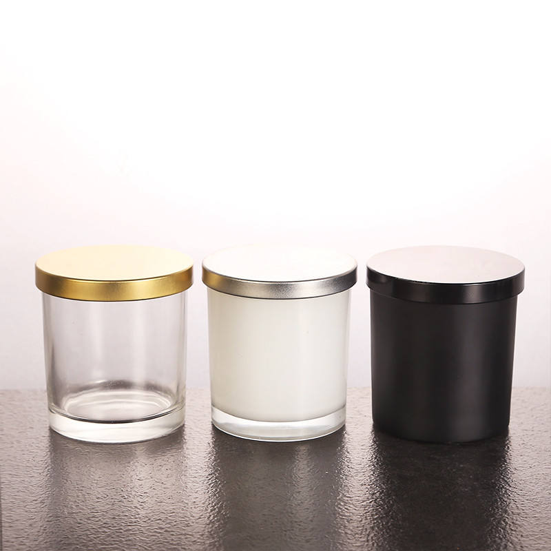 Transparent customized color round Classic Church Scented Glass Candle Jar with metal lid