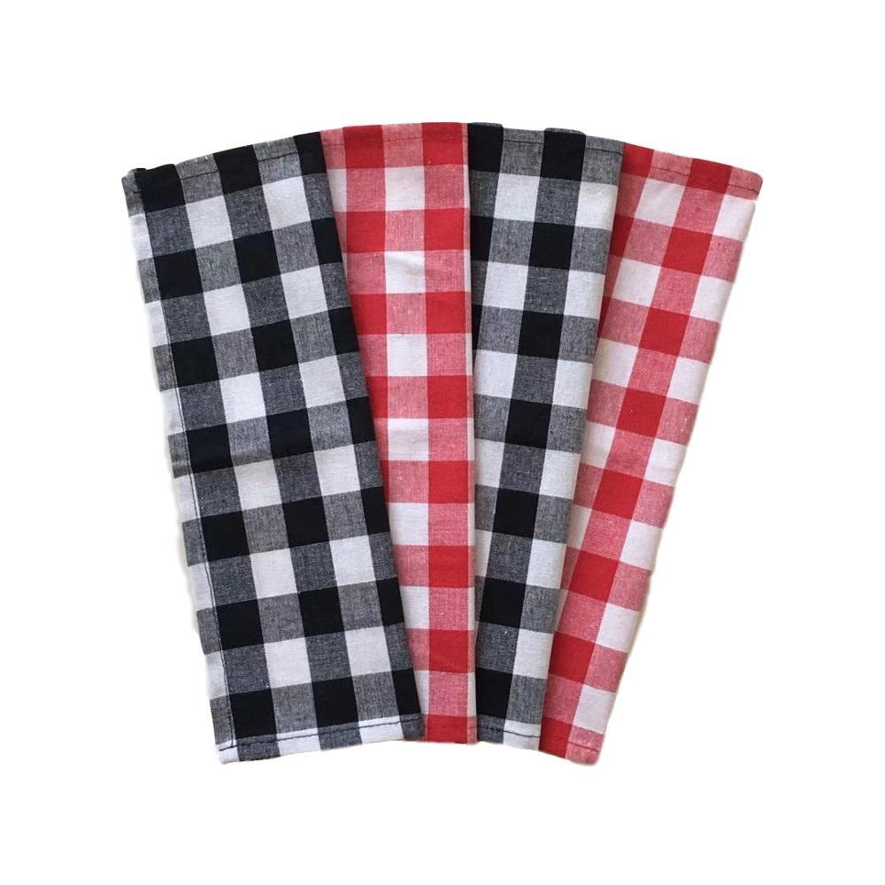 Plain white Red Cotton Buffalo Check Plaid Dish Kichen Towels