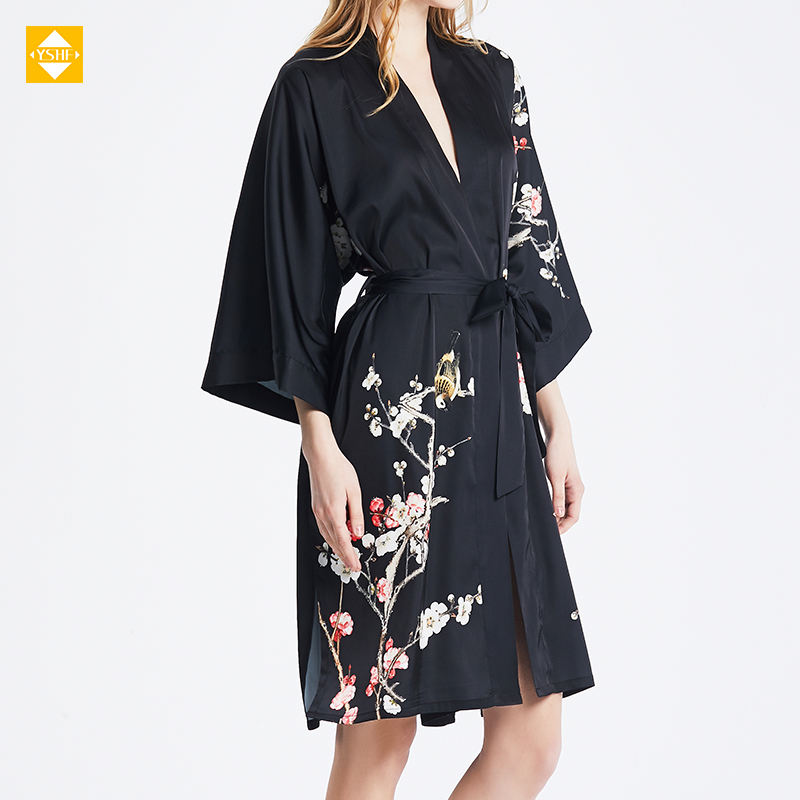 Custom Printing Ladies Sexy Summer Nighty Satin Silk Nightwear Dress