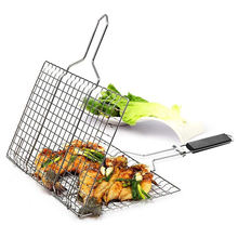 Factory Directly Low MOQ Amazon Hot Sale Portable BBQ Grilling Basket 430 Stainless Steel Removable Wooden Handle