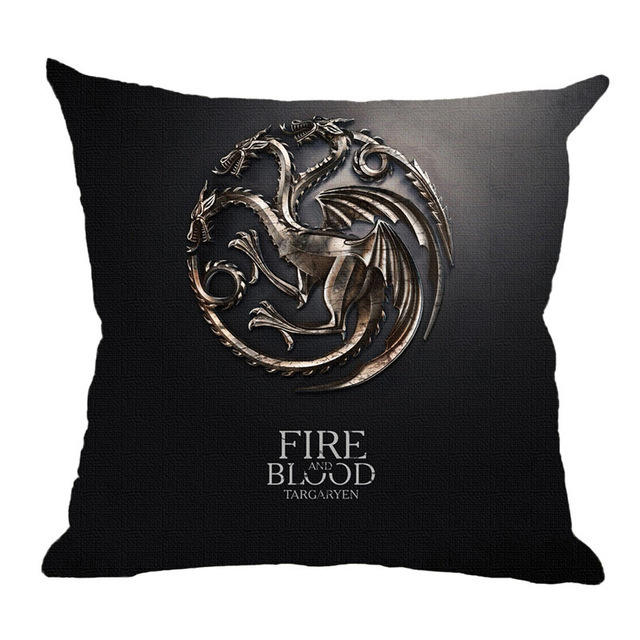 Ready to ship Linen fabric sofa bed home decor cushion covers,in stock game of thrones printing cushion cover 45*45cm