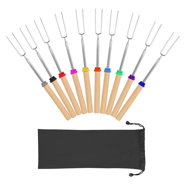 8 Color Wooden Handle Extendable Marshmallow Roasting Sticks Barbecue Forks Set Telescoping Smores Skewers for Campfire, Fire