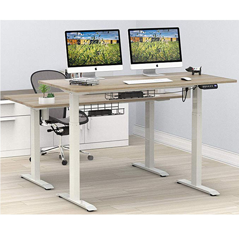 White Smart Modern Home Office Work Executive Computer Laptop Height Adjustable Lift Sit Up Standing Desk