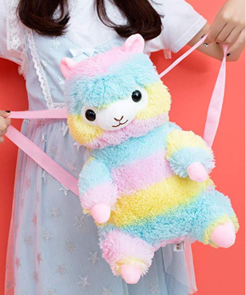 Free Sample plush rainbow lama backpack bag toy /factory direct plush lama school bag /stuffed plush alpaca schoolbag doll toy