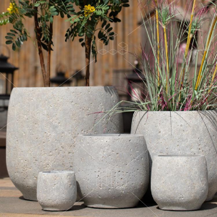 Venta al por mayor de gran tamaño interior ronda al aire libre macetas y jardineras macetas para plantas de jardín