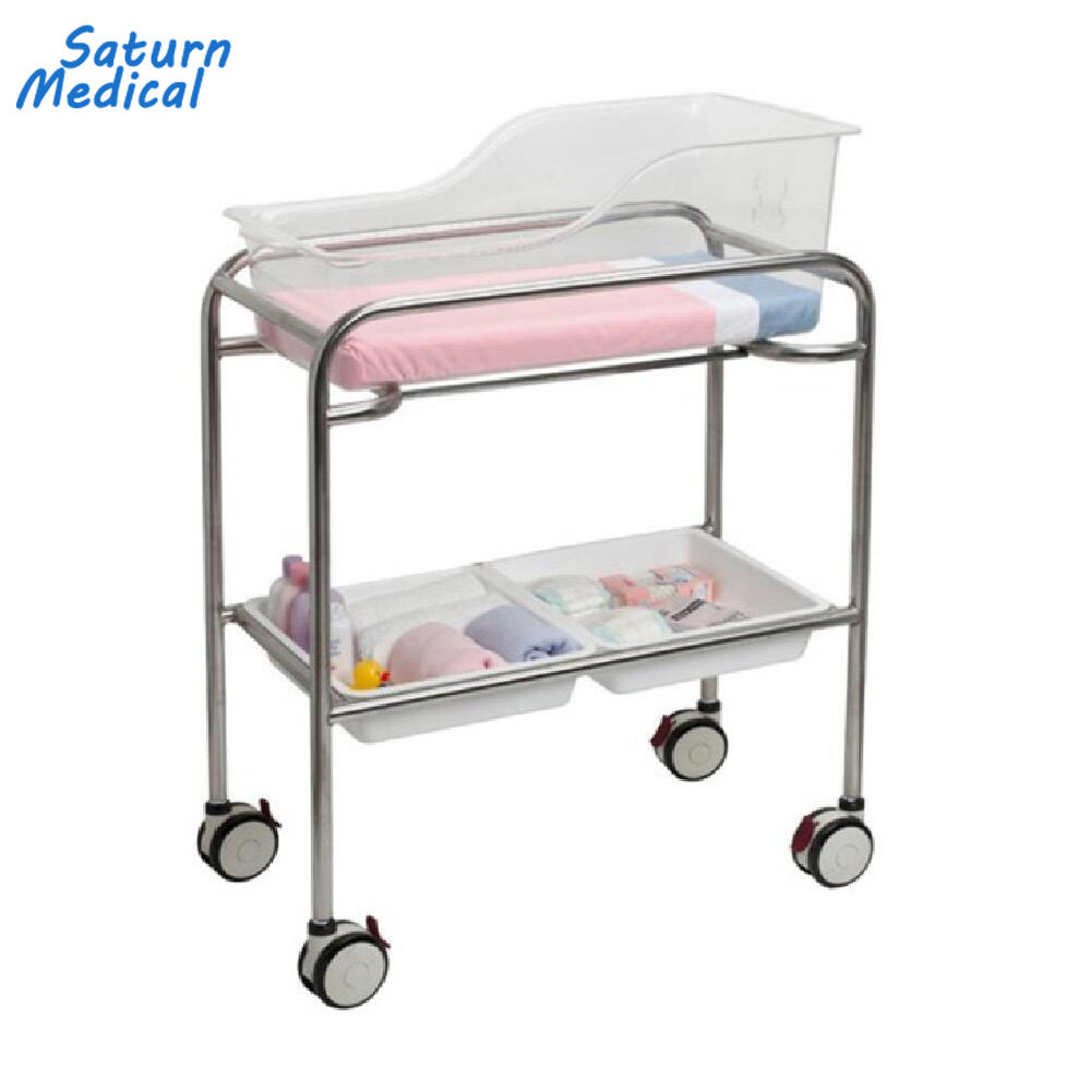 Stainless steel hospital newborn baby bed crib