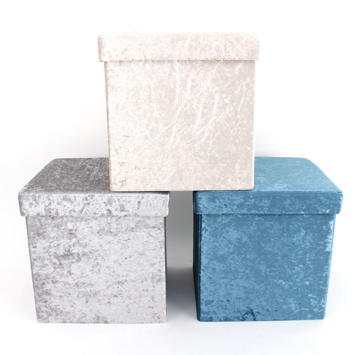Customized fabric folding ottoman storage chair and stool square padded seat cover foldable ottoman storage stool