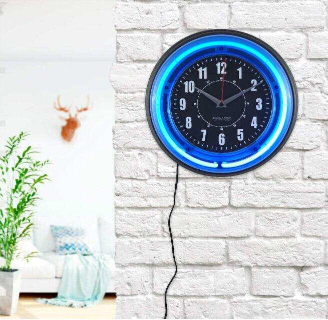wholesale 12 Inch Custom clock face neon tube lighting Neon Wall Clock