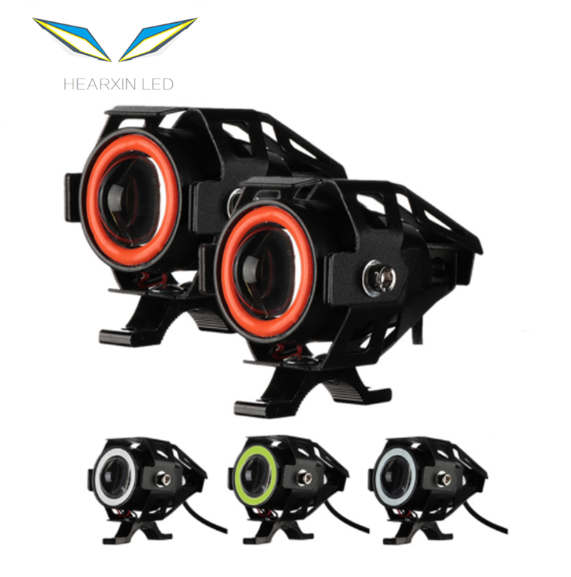 Angel Eye Motorcycle Headlights Led Spot Lights 12V Mini U7 Scooter Motorbike Spotlight Fog Driving Lamp High Low Beam Led Light