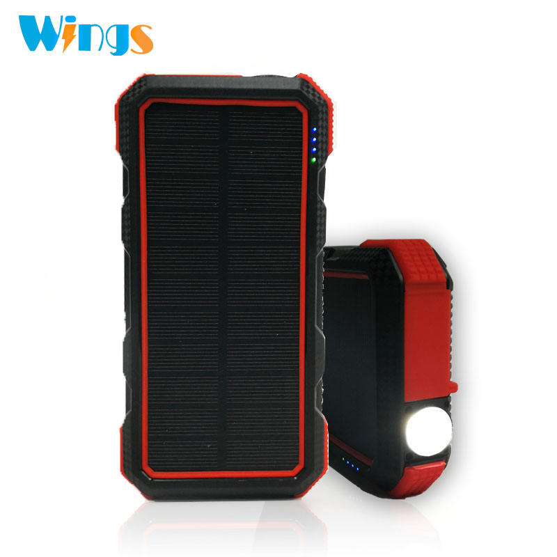Wings Waterproof Durable Heavy Duty High Capacity Wireless Charger Solar Power Bank with LED Flashlight and PD 18W Quick Charge