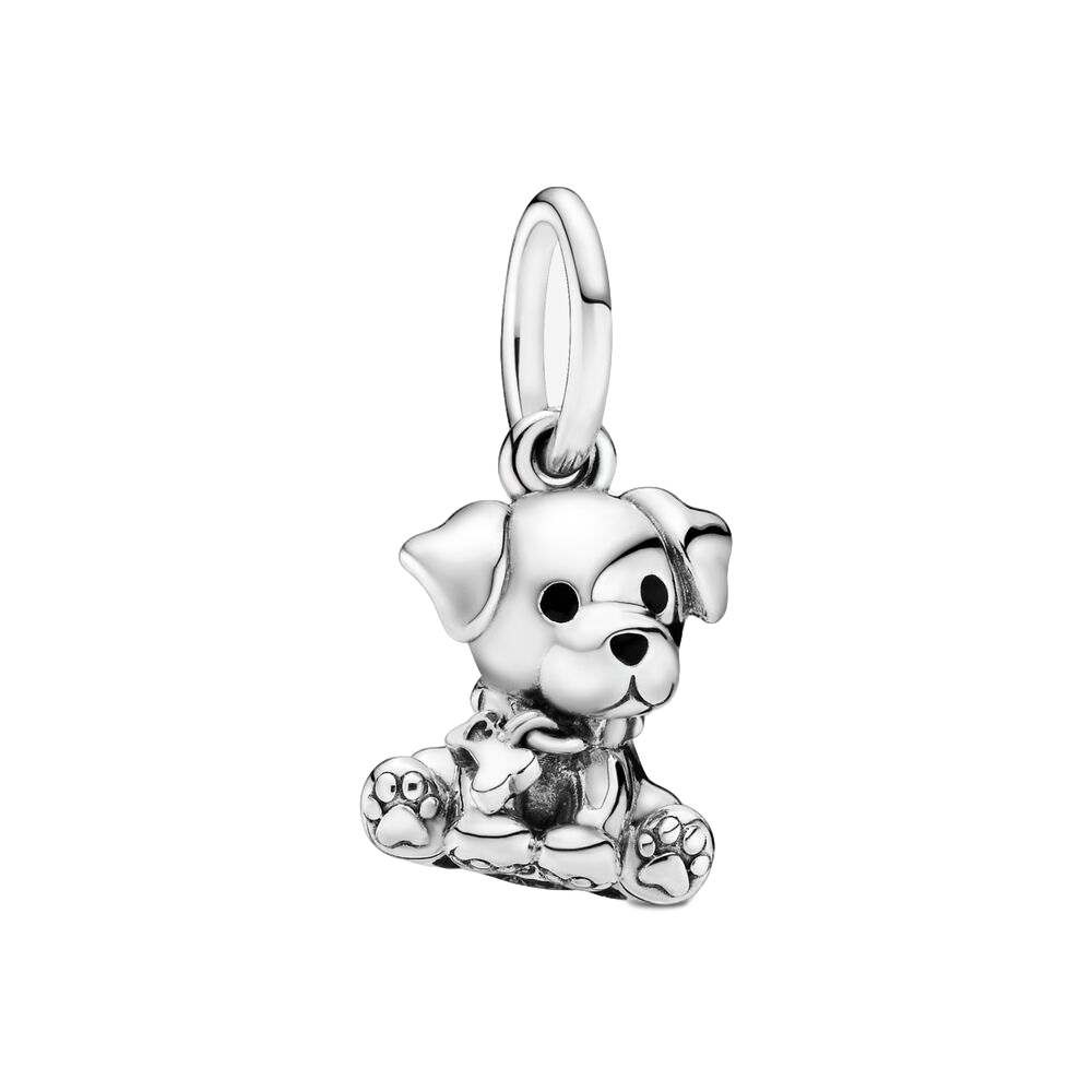 Silver Labrador Puppy Dog Dangle CharmสำหรับPandora