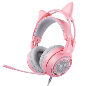 Somic G951 Pink Cat Ear LED Light Smart Vibration Virtual 7.1 Surround Sound Gaming Headset with Microphone for Girl Gamers
